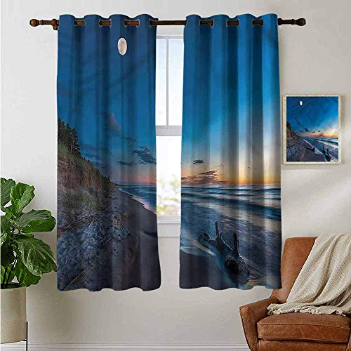 petpany Blackout Curtains Driftwood,The Moon in The Sky Lake,Thermal Insulated Panels Home Décor Window Draperies for Bedroom 52