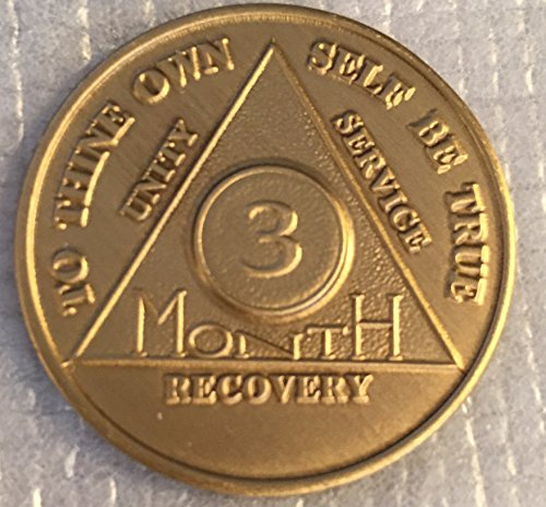 3 Month 90 Days AA Alcoholics Anonymous Medallion Chip Bronze