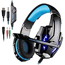 AFUNTA G9000 Stereo Gaming Headset Compatible Mac, PS4, PC, Xbox One Controller, Laptop, Noise Cancelling Over Ear Headphones with Mic, LED Light, Bass Surround, Soft Memory Earmuffs -Blue