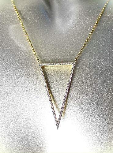 (Artisanal Gold Plated Cz Crystals Triangle Pendant Chain Necklace For Women)