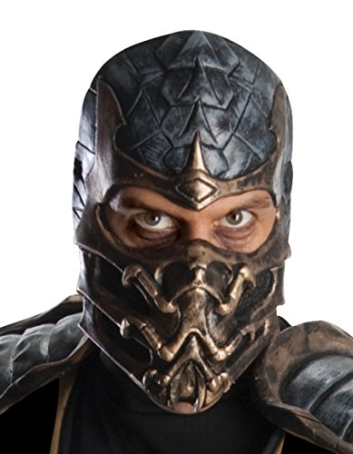 Scorpion Ninja Costumes (Mortal Kombat Deluxe Overhead Scorpion Mask, Brown, One Size)