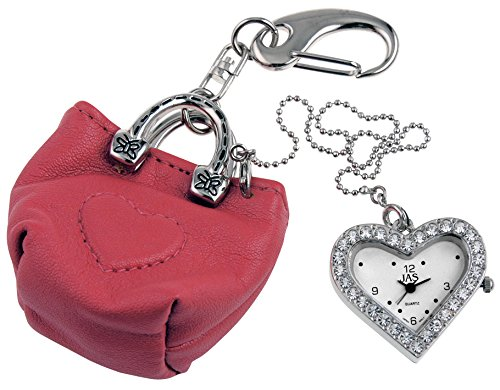 JAS Unisex Novelty Belt Fob/Keychain Watch Red Purse Silver Tone
