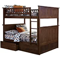 Nantucket Bunk Bed with 2 Flat Panel Bed Drawers, Full Over Full, Antique Walnut