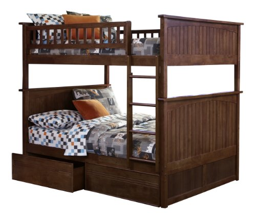 Nantucket Bunk Bed with 2 Flat Panel Bed Drawers, Full Over Full, Antique Walnut - Bunk Panel