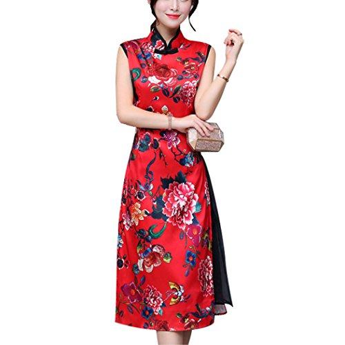 Exquisite Silk Dresses (HÖTER Women's Qipao High Split Slim Dress Printed Traditional Vintage Chinese Silk Cheongsam)