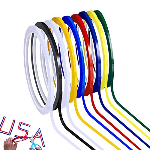 Supla 8 Rolls 8 Colos Art Tapes Artist Tape Marking Grid Tapes Whiteboard Tape Chart Graphic Tape Single-Side Adhesive Mara Tape 1/8