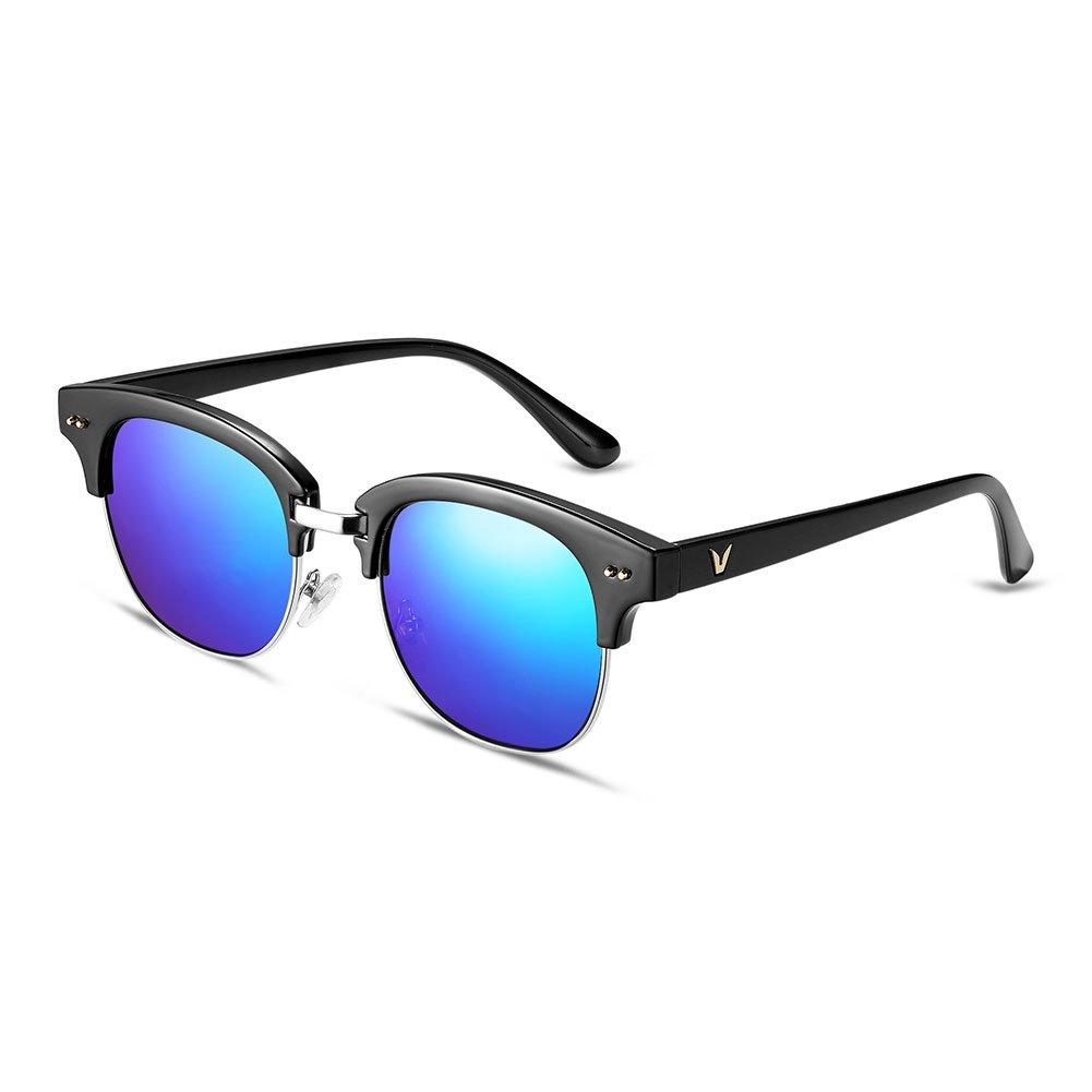 Nykkola – Gafas de sol de llentes de color unisex, espejo lente de aviador, medio marco, polarizadas...