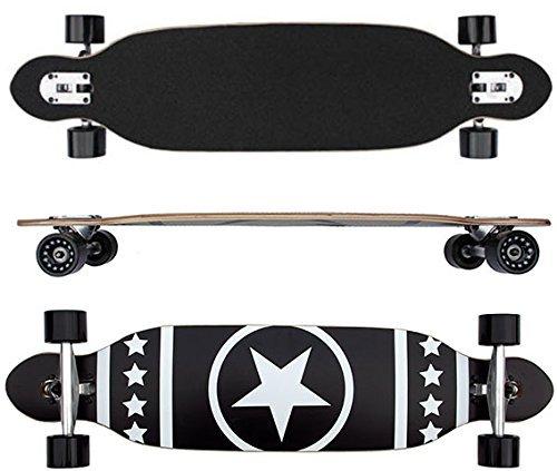 Longboard Racing Board 96 cm lang schwarz mit Stern weiß ABEC-7 Kugellager
