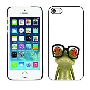 Cubierta de la caja de protección la piel dura para el Apple iPhone 5 / 5S - nerd frog glasses sad white green