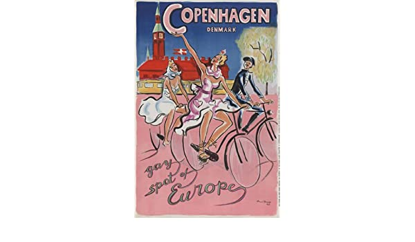 TX76 Vintage Copenhagen Denmark Gay Spot Europe Framed Travel Poster A3//A4