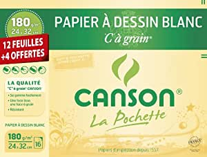 Canson 200001108 - Papel de dibujo, blanco