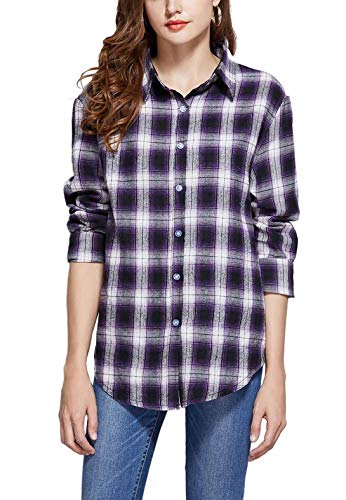 GUANYY Women's Long Sleeve Casual Loose Classic Plaid Button Down Shirt(Classic Purple,Medium)