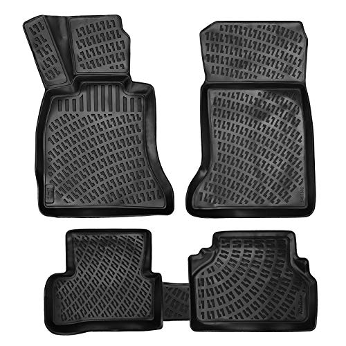 Crocliner Floor Mats Front and Rear All Weather Custom Fit Floor Liner for BMW 5 Serie E60 Sedan / 2005-2010 (BMW 5 Serie E60 Sedan / 2005-2010) 2007 Bmw 5 Series Sedan