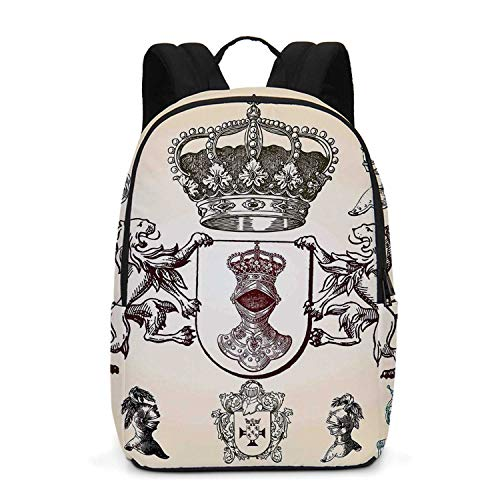 (Medieval Durable Backpack,Shield Design With Various Ancient Figures Coat of Arms Blazon Crown Print for School Travel,One_Size )
