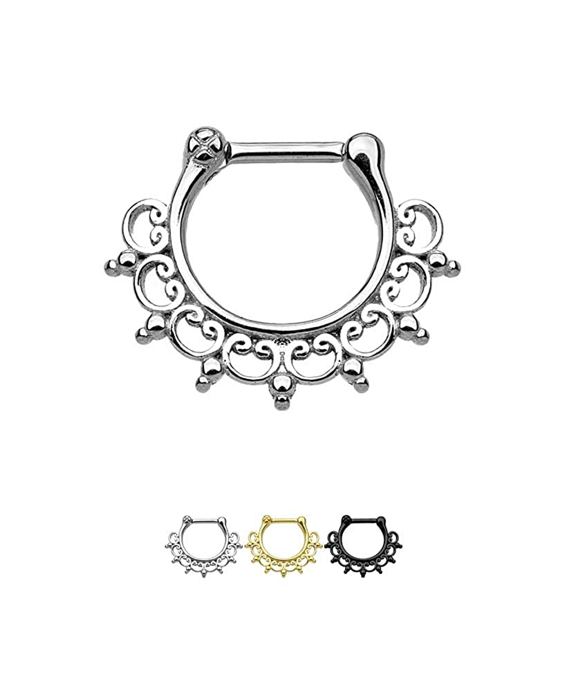 316L Surgical Steel Septum Clicker Helix Nose Ring Hoop Tribal 3//8 16G Choose Your Color