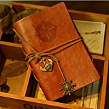 KitMax (TM) Vintage PU Leather Bound Writing Journal Book Personalized Hardcover Travel Diary Notebook with Pirate Anchors Rudder Pendant Gift for Students Children, Dark Brown