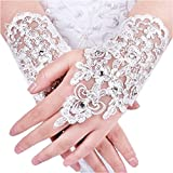Women's Fingerless Lace Bridal Gloves Beaded Rhinestone Wedding Accessories