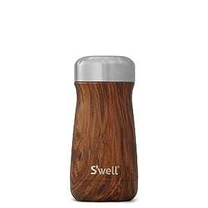 S'well Stainless Steel Travel Mug, 12 oz, Teakwood