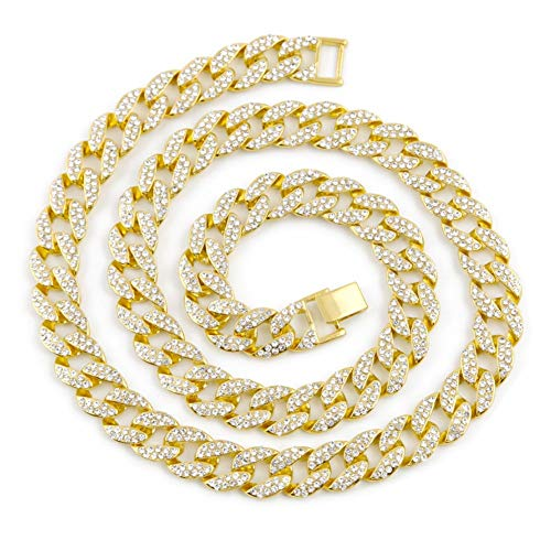 - AOVR Hip Hop Cuban Link 15mm CZ Crystal 14K Gold Plated Fully Iced-Out 18