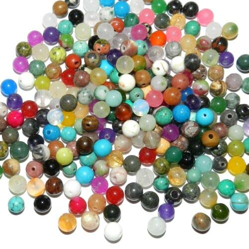 Mixed Gemstone Bracelet - GR9911 Assorted Multiple Color Mixed 6mm Round Gemstone Beads 1-Ounce Crafting Key Chain Bracelet Necklace Jewelry Accessories Pendants