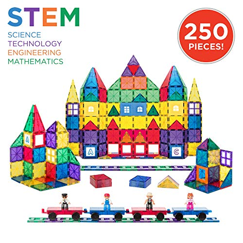 (Best Choice Products 250-Piece Kids Educational STEM Rainbow Geometric 3D Magnetic Building Block Tile Toy Play Set w/ Railroad Tracks, 4 Action Figures, 4 Mini Train Carts, ABC Stickers)