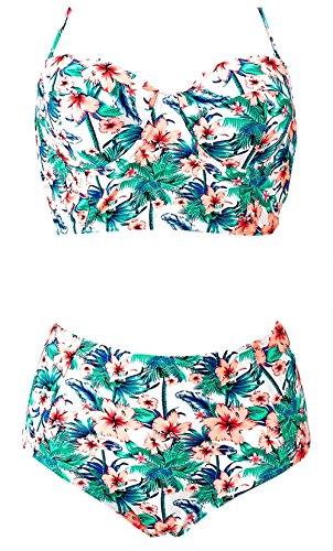 LA PLAGE Women's Swimsuit Floral High Waist Push Up Padded Bra Retro Vintage Cute Beach Swimwear size XXL US green