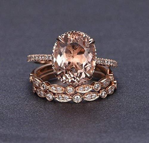 2.25 Carat Oval cut Morganite and Diamond Trio Wedding Ring Set On Rose Gold with Engagement Ring and Two Wedding Bands 51IfA-dtQ2BL