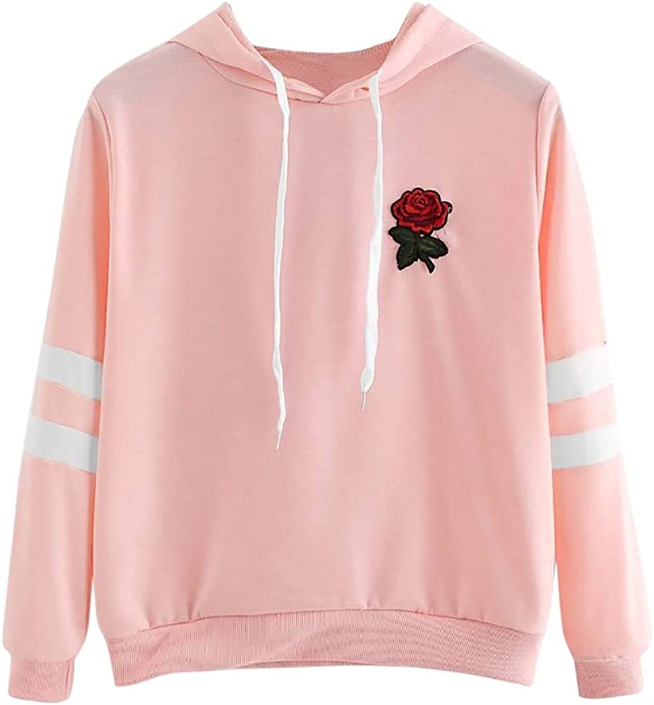 Teen Girls Hoodie Pullover Crop Tops Women Long Sleeve Striped Shirts Rose Print Sweatshirts Casual Blouse Jumper