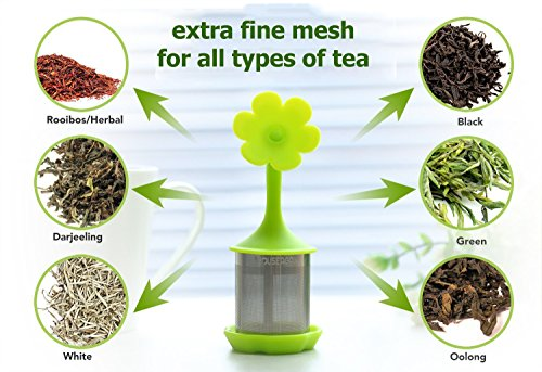 House Again 4-pack Extra Fine Mesh Tea Infuser with Drip Tray - 18/8 Stainless Steel Fine Mesh Tea Cup with BPA-Free Silicone Lid - Perfect Tea Balls Tea Strainers by HOUSE AGAIN (Image #2)