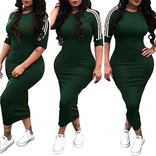 (Fiaya Women's Sexy Half Sleeve White Side Stripe Bodycon Casual Long Dresses Outdoor (Army Green, XXXL))