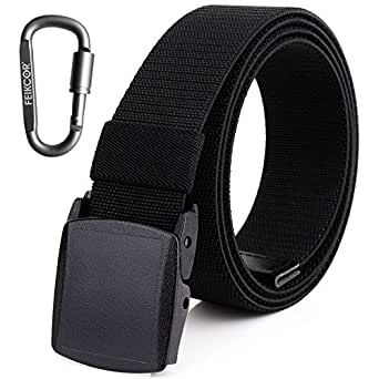 Mens Nylon Webbing Belt - Canvas Adjustable Casual Nickel Free Web Belt with Plastic YKK Buckle (Black-003)