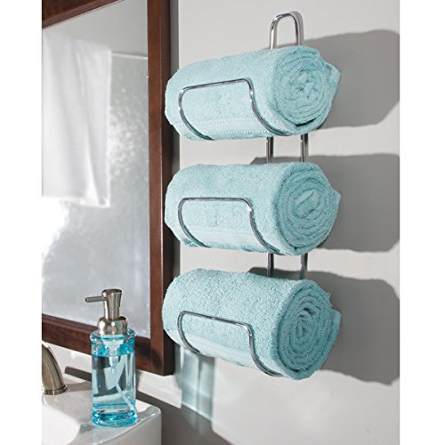 mDesign Wall Mount or Over Door Bathroom Towel Holder Bar - Chrome - Bathroom Holder