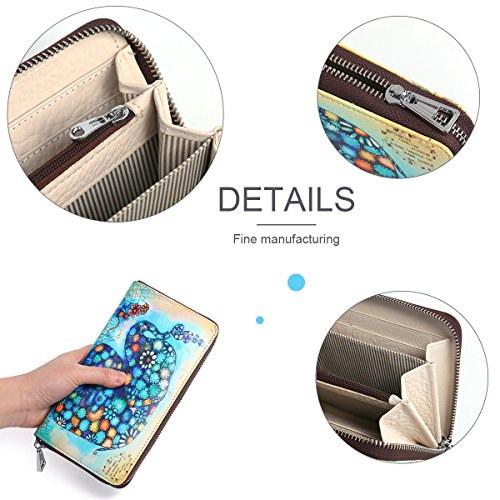 Zipper Leather Women's Holder red Blue Elephant Purse Gift 1346 0002 Clutch Wallets Cowhide Fox Box Designer Painting Card APHISONUK twxzqf5