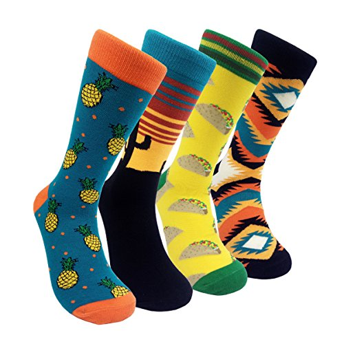 Mens Sock Pattern (Mens Colorful Dress Socks Argyle – HSELL Men Multicolored Pattern Fashionable Fun Crew Socks 4 Pack (Cactus 4 Pack))
