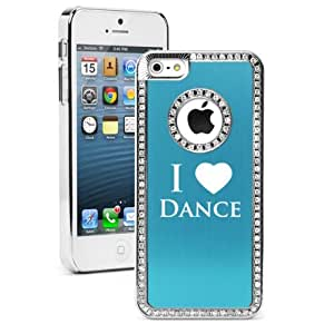 Apple iPhone 5 5S Light Blue 5S668 Rhinestone Crystal Bling Aluminum Plated Hard Case Cover I Love Dance