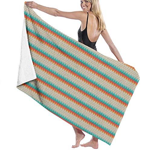 Amanda Billy Cotton Craft Super Soft Oversized Bath Towel Green Yarn Striped Decoration Linen - Luxury Hotel Towel - Ideal for Everyday Use
