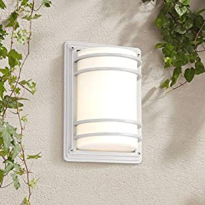 Habitat Modern Contemporary Industrial Outdoor Wall Sconce Fixture Silver 11″ Opal Etched Glass for Exterior House Porch Patio Outside Deck Garage Yard Front Door Garden Home – John Timberland