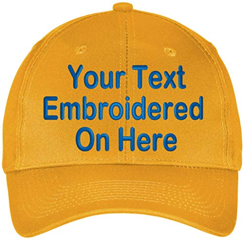 (Custom Hat, Embroidered. Your Own Text. Adjustable Back. Curved Bill (Yellow Gold))