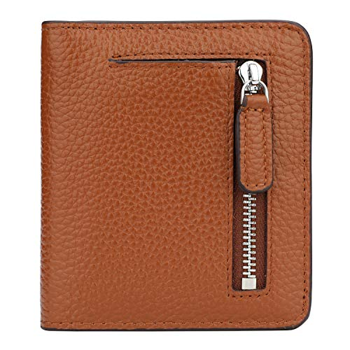 RFID Blocking Wallet Women's Small Compact Bifold Leather Purse Front Pocket Mini Wallet (Brown #2)