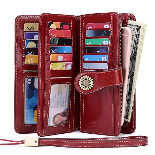 Women Wallets, Ladies Leather Purse RFID-Blocking 24 Slots Large Capacity with 2 ID Window