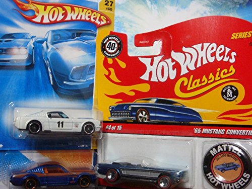 (Hot Wheels Detailed Diecast 1965 Ford Mustang Set: Classics Series #4 With Button Convertible Red Line #4/15, Street Beast Series Issue, Including The White Black Wheel with Blue Twins Down)