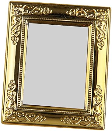 Realistic Miniature Model 2pcs Victorian 1//12 Scale Wall Mirror Rahmen with Golden Frame Crafts for Dollhouse Any Rooms Decor