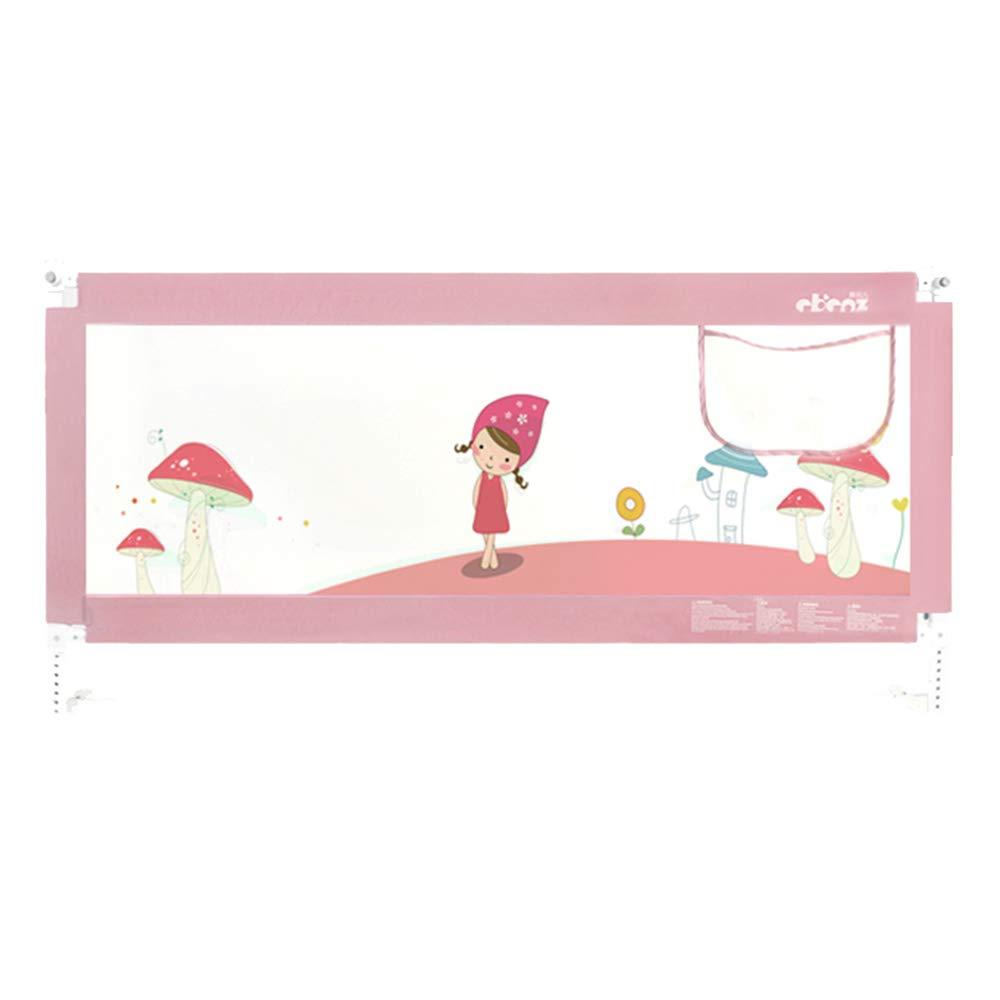 LHA ベッドガードフェンス 赤ん坊がベッドから落ちるのを防ぐためのベッドの塀、縦の持ち上がること、二重Unlocking1.2-2.2m (色 : Pink, サイズ さいず : L-150cm) L-150cm Pink B07MQL9CYK