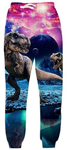 Uideazone Men Women Digital Print Dinosaur Joggers Pants Cool Graphic Sweatpants Dinosaur Medium (Womens Graphic Sweatpants)