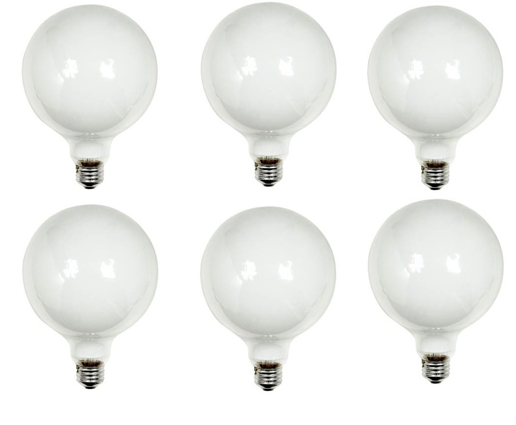 GE Lighting 49781 100-Watt G40 Bulb, 5-Inch Diameter, Soft White, 6 Pack