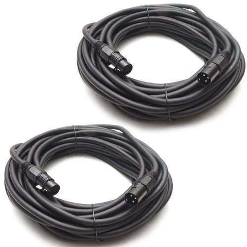 (Seismic Audio - Set of two (2) 50 Feet DJ/PA XLR Microphone Cables - Mic Cable - Stage or Studio use)