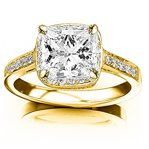 14K Yellow Gold 0.56 CTW Princess Cut Classic Square Halo Single Row Pave Set Diamond Engaement Ring, H-I Color SI1-SI2 Clarity Center Stone (Ring Classic Gold Yellow Single)