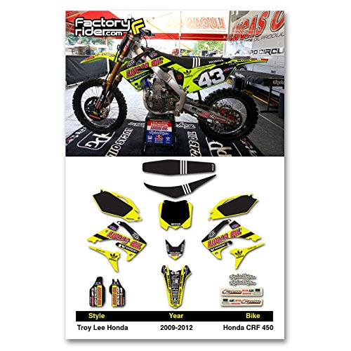 - Enjoy MFG 2009 - 2012 CRF 450 NEON Troy Lee Designs Lucas Oil Graphics Kit and Seat Cover BUNDLE