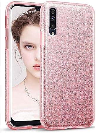 """Image ofCoovertify Funda Purpurina Brillante Rosa Samsung A50, Carcasa Resistente de Gel Silicona con Brillo Rosa para Samsung Galaxy A50 (6,4"""")"""