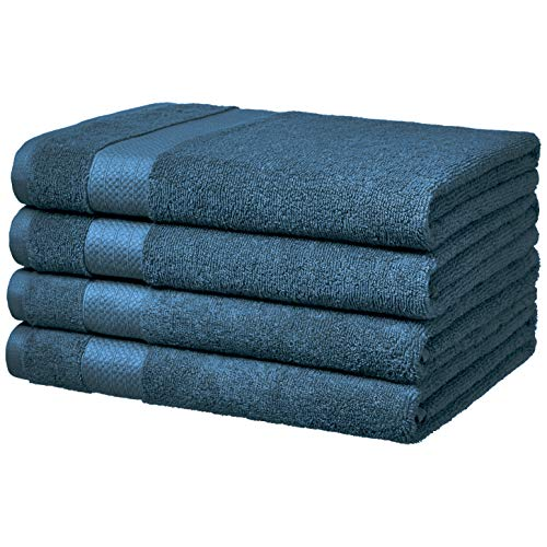 AmazonBasics Performance Bath Towels, Set of 4, Hydro Blue